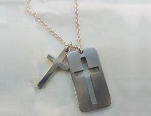 Silver Cross & Titanium Pendant